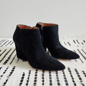 Zara suede block heel pointed ankle boot